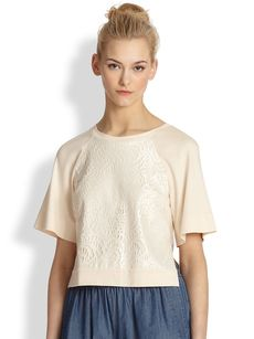 Robert Rodriguez Lace-Paneled Raglan-Sleeved Tee