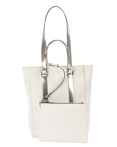 CoSTUME NATIONAL Leather North-South Mini Tote Bag, White/Gray