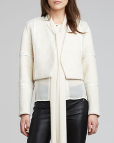 J Brand Ready to Wear Luce Leather-Trim Jacket