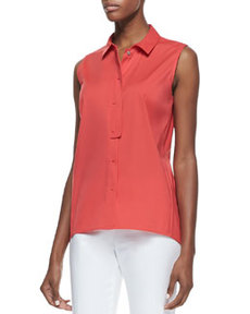 Lafayette 148 New York Daisy Sleeveless Poplin Blouse