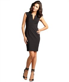 French Connection black cutout v-neck 'Almonda' cap sleeve stretch dress