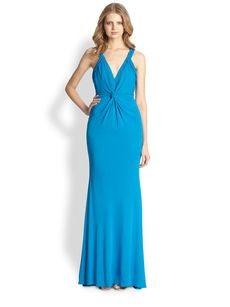 Badgley Mischka Crossover Gathered Jersey Gown
