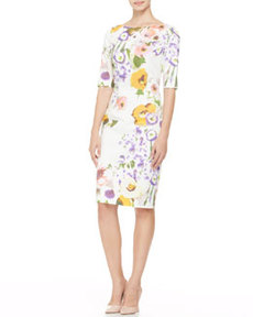 Half-Sleeve Floral Sheath Dress   Half-Sleeve Floral Sheath Dress