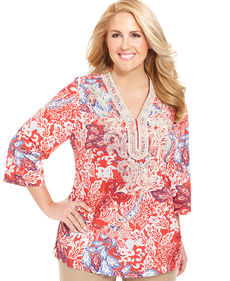 Charter Club Plus Size Paisley-Print Tunic Top