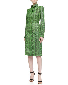 Michael Kors Snakeskin Belted Long-Sleeve Shirtdress, Palm