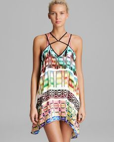 MILLY Neon Ikat Print Beliz Criss-Cross Swim Cover Up Dress