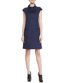 Lafayette 148 New York Milan Leather-Trim Dress
