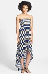 Laundry by Shelli Segal Stripe Strapless High/Low Matte Jersey Maxi Dress