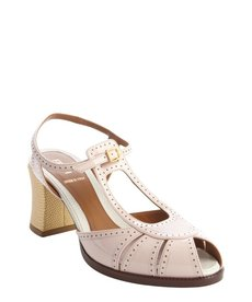 Fendi pink and gold leather dual t-strap block heel pumps
