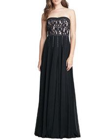 Strapless Lace Studded Gown   Strapless Lace Studded Gown