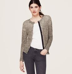 Petite Leopard Print Hidden Placket Cardigan