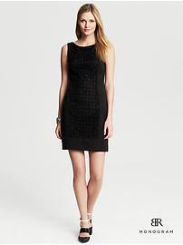 BR Monogram Lace-Panel Black Dress