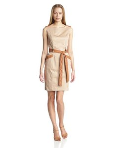 Ellen Tracy Women's Cap Sleeve Dress with Leather Details