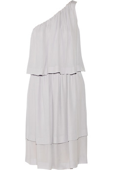 Chloé One-shoulder tiered silk-georgette dress