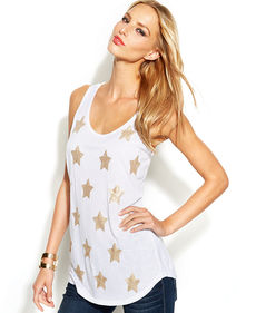 INC International Concepts Sleeveless Sequined-Stars Top