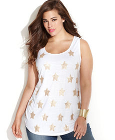 INC International Concepts Plus Size Sleeveless Sequined-Stars Top