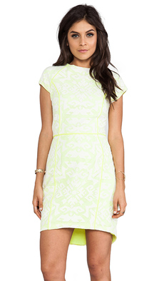Dolce Vita Aletta Tribal Lace Short Sleeve Dress in Yellow