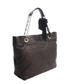 Lanvin black quilted leather 'Amalia' chain strap ribbton accent tote