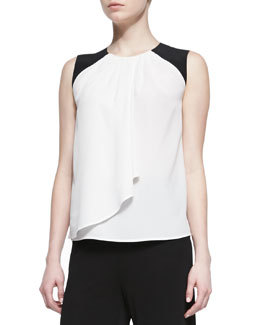 Etro Silk Colorblock-Shoulder Shirt with Drape