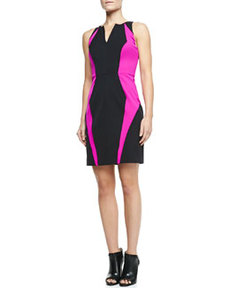 Angular Seamed Two-Tone Jersey Sheath Dress   Angular Seamed Two-Tone Jersey Sheath Dress