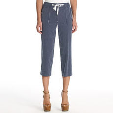 Cropped Cotton Cargo Pants with Drawstring Waist (Plus)