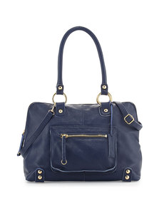 Linea Pelle Dylan Front-Pocket Leather Duffle Bag, Blue
