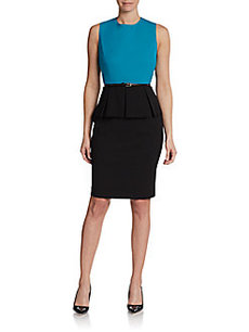 Calvin Klein Sleeveless Bicolored Peplum Dress