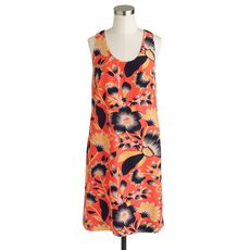 Twist-back silk dress in hibiscus floral