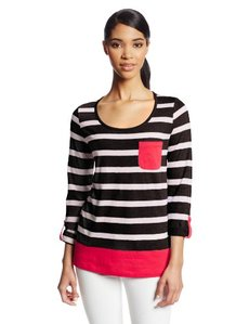 Jones New York Women's Three Quarter Sleeve Roll Cuff Scoop Easy Body Top