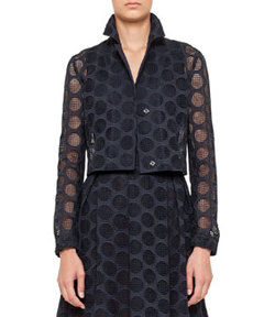 Akris punto Three-Quarter-Sleeve Dot Lace Bolero, Navy