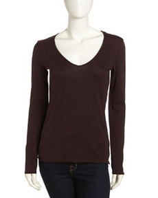 James Perse Long-Sleeve Jersey V-Neck Tee, Joplin