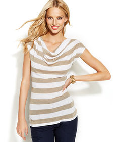 INC International Concepts Draped-Neck Metallic-Striped Top