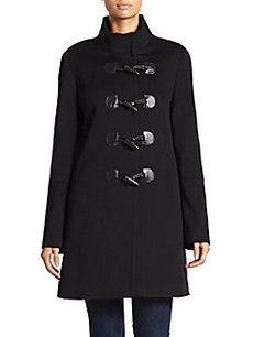 Saks Fifth Avenue BLACK Faux Leather-Trimmed Wool Toogle Coat