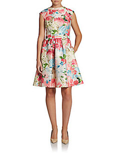 Cynthia Steffe Presley Floral Fit-and-Flare Dress