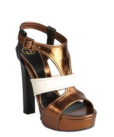 Gucci bronze colorblock leather 'Andie' platform sandals
