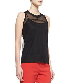 Jan Shell with Sheer Sleeveless Top, Black   Jan Shell with Sheer Sleeveless Top, Black