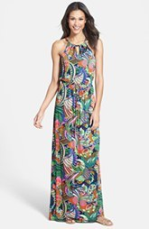 Laundry by Shelli Segal Front Keyhole Print Maxi Dress