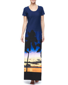 Tommy Bahama Sunset Palm Tree Long T-Shirt Dress