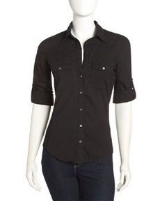 James Perse Contrast-Panel Shirt, Black