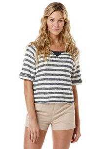 stripe french terry crop top