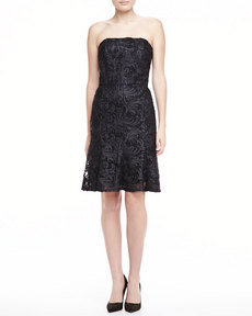 David Meister Strapless Lace Dress, Black
