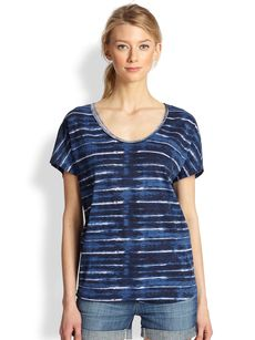 Soft Joie Diamond Tie-Dye Striped Cotton Tee