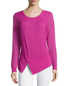 Lafayette 148 New York Aerial Long-Sleeve Cutaway Wool-Knit Sweater, Gladiola