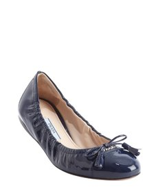 Prada royal blue leather logo and tassel bow detail ballet flats