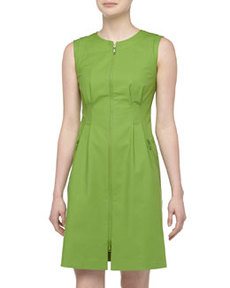 Lafayette 148 New York Misti Zip-Front Dress, Verde