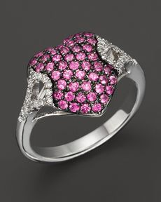 Badgley Mischka Pink Sapphire And Diamond Pave Heart Ring
