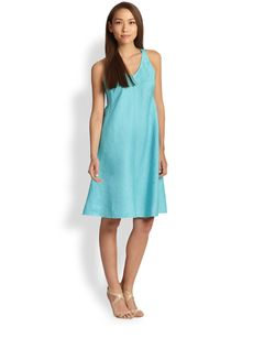 Eileen Fisher Linen Bias-Cut Dress