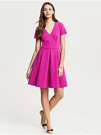 Fuchsia Knit Fit-and-Flare Dress