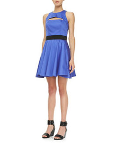 Cutout-Top Flared Dress   Cutout-Top Flared Dress