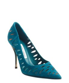 Jimmy Choo teal suede cutout pumps